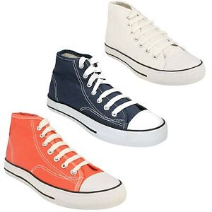 LADIES WOMENS SPOT ON HI TOP BASEBALL CANVAS LACE UP SHOES TRAINERS X0002