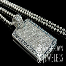 SOLID STAINLESS STEEL WHITE GOLD FINISH LAB DIAMOND DOG TAG CHAIN NECKLACE SET