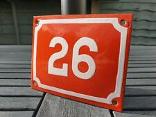 Antique Metal Number 26 Enamel Sign House Door Placque 15cm x 12cm