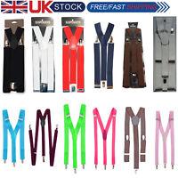 35mm Unisex Mens Men Braces Plain Wide Heavy Duty Suspenders Adjustable Trousers