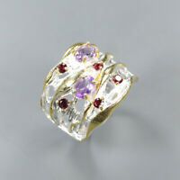 Natural Amethyst 925 Sterling Silver Ring Size 7.5/RR17-2178