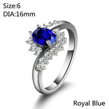 Women Sapphire Zircon Silver Plated Bride Wedding Ring Engagement Jewelry Gifts Royal Blue 8