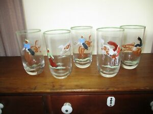 Rare Vintage Hand Painted Cowboy Scenes on High Ball Glass Tumblers ~ Very Nice