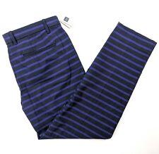 Gap Slim Cropped Stretch Pants Blue Black Striped Size 6 NWT