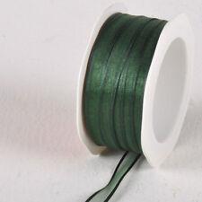 Decorative Ribbon Special 10mm X 25m Hunter Green Satin Edge Organza Ribbon