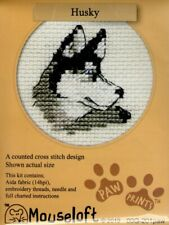14ct Counted Cross Stitch Kit - Mouseloft - Paw Prints - Husky Dog counted