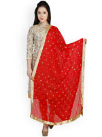 Womens Indian Traditional Red Embroidered Chiffon Dupatta Free Shipping