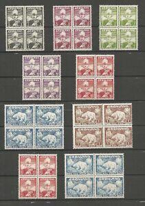 GREENLAND - Chr. X and Polar Bear. Scott # 1-9. Blocks of four. MNH. NEW PRICE