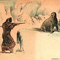 "1882 J.H. Bufford ""Arctic Sport"" No Ad Trade Card - Hunters Shooting Walrus C4"