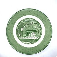 "Vintage Colonial Homestead By Royal Green 10"" China Dinner Plate Fireplace Scene"