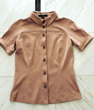 MARCCAIN blusa donna giacca manica corta pelle scamosciata LOOK N3 38 S M