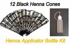 12 Black Color Herbal Henna Cones + Applicator Bottle Temporary Tattoo Body Kit