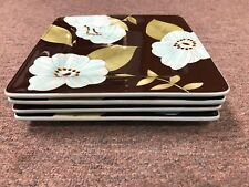 """Laurie Gates Madison Blue and Brown floral 9 1/8"""" Salad Square Plate"""