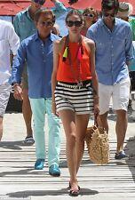 Olivia Palermo x Tibi Variegated Stripe Knit Shorts Ivory & Black, Size 2