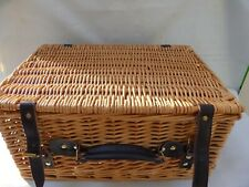 Wicker Picnic Hamper Basket Suitcase Leather Strap Large Woven Storage Box