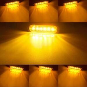 4X 6LED AMBER RECOVERY 12/24V CAR STROBE LIGHTS ORANGE GRILL BREAKDOWN FLASHING