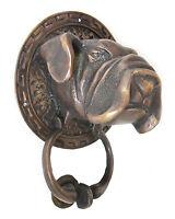 BULLDOG DOG Solid Brass Door Knocker 12 cm high 15 cm diameter screws provided