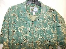 Men's Aftco Marlin Hawaiian Palm Leaf BLUEWATER Fishing GREEN Camp Shirt USA L