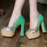 Womens Lady Chunky high Heels Peep toe Pumps Slip on Party Shoes Shiny Sandals L