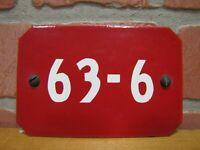 Old Porcelain Industrial Sign 63-6 Red White Bevel Corner Steampunk Panel Ad
