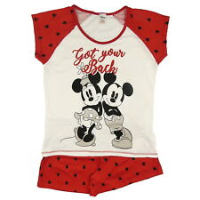 NEW OFFICIAL Disney Mickey Mouse and Minnie Mouse Ladies Short Pyjamas PJs Set