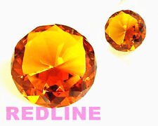 2 Piece Round Crystal Diamond Paperweight Decor Amber  (3.25'' / 80 mm)