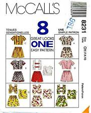 Girls' Shorts and Tops McCalls's Pattern, Sizes 7, 8, 10, 8 Views