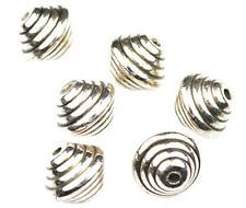22 Antique Silver Spiral Bicone Plastic Beads 14mm
