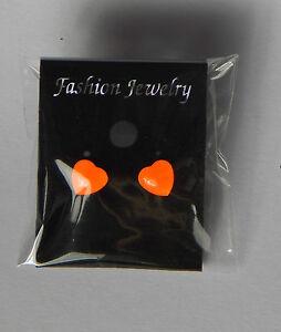 Neon Orange Love Heart Earrings Stud fixig
