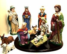 Porcelain Bisque Christmas Nativity Set Wooden Display Base 11 Pieces 9 in Tall