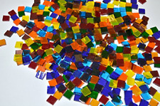 LDGJ 300g/Pack Transparent Bright Mixed Color Tumbled Stained Glass Mosaic Tiles