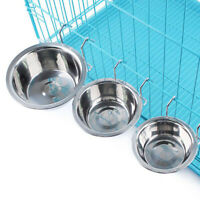 S M L Stainless Steel Hang-on Bowl Metal for Pet Dog Cat Crate Cage Food Water