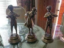 Vintage Brass Metal Statue Of Man Flute woman violin very detailed