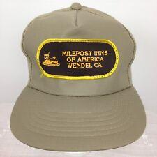Vintage Trucker Hat Cap Milepost Inns Wendel CA Patch Beige One Sz Snap Back