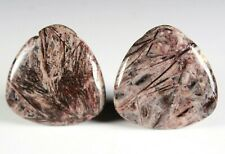Two (2) Red Bamboo Agate 30mm Triangle Drop Drill Beads aka Red Giraffe (260)