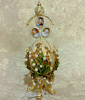 "Faberge Egg Beige Emperor Nicholas Family Portrait (6.3""). Made in Russia"