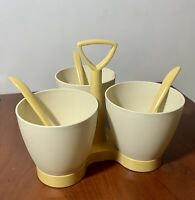 Vintage Tupperware condiment caddy + Spoons LOT 4 EXTRA White Condiment Cups