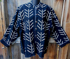 ART TO WEAR LINED WOVEN COTTON REVERSIBLE JACKET IN BLACK & CREAM BY SAM HILU, M