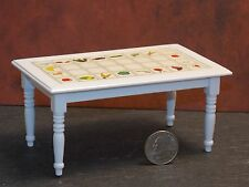Dollhouse Miniature Dining Kitchen Table White Fruit Top 1:12 one inch scale F65