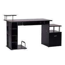 HOMCOM  Bureau informatique Table pour Ordinateur PC en MDF noir