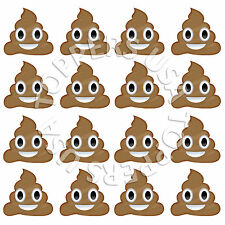 16x EDIBLE Emoji Poop Faces Emoticon Cupcake Toppers Wafer Paper 4cm (uncut)