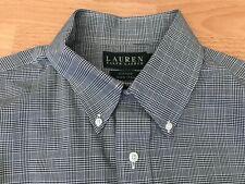 "RALPH LAUREN FITTED NON IRON Mens Black Check Business Shirt @ UK 16.5"" Collar"