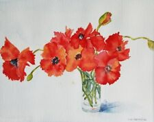 """Painter Suzanne Obrand, Holocaust Survivor, Watercolor """"Red Pansies in a Vase"""""""