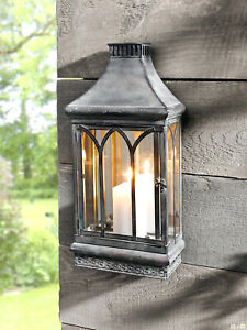 Wall Mount Mirror Candle Lantern, Clear Glass