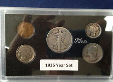 1935 United States Five Coin Silver Year Set Classic Coins in Display Case
