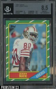 1986 Topps Football #161 Jerry Rice San Francisco 49ers RC Rookie HOF BGS 8.5