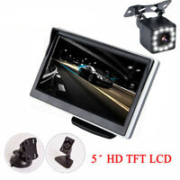5'' Car Rearview Camera Monitor Kit HD 12 LED Night Vision Waterproof Universal
