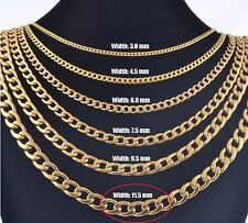 """11.5mm 16"""" Stainless Steel Curb necklace Link Chain Pendant Gold Tn STCR11.5G"""