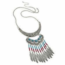 Burnished Silver Colour Turquoise Crystal Necklace Coral Bead Tribal Necklace