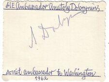 WORLD LEADERS: Anatoly Dobrynin - Soviet Ambassador to USA -Cuban missile crisis